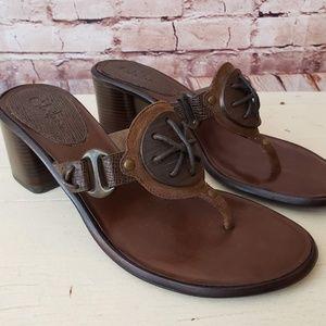 Cole Haan Brown Block Heel Thong Sandals Size 6.5